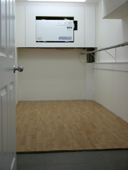 radiant heated wall - basement storage room
