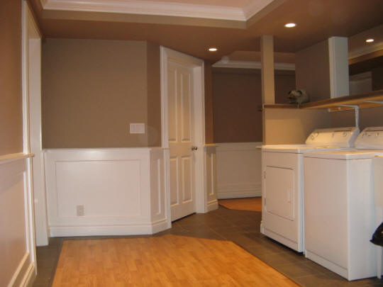 radiant heated wall - basement laundry room