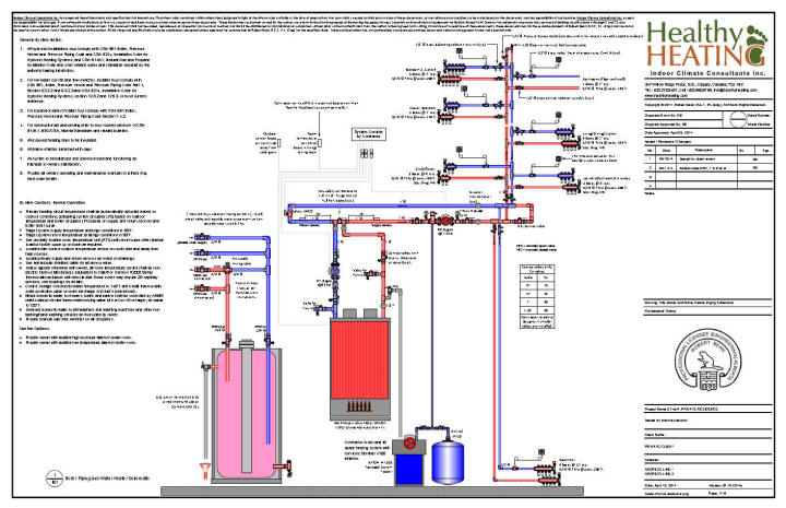 Drawing 1. Boiler Room Mechanical Schematic And Layout Specifications,  Including Control And Operation Notes.