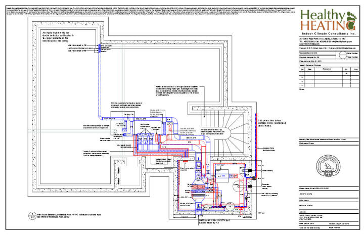 Sample set 4 design drawings and specifications for residential drawing 12 main house basement ducting and piping layout malvernweather Images