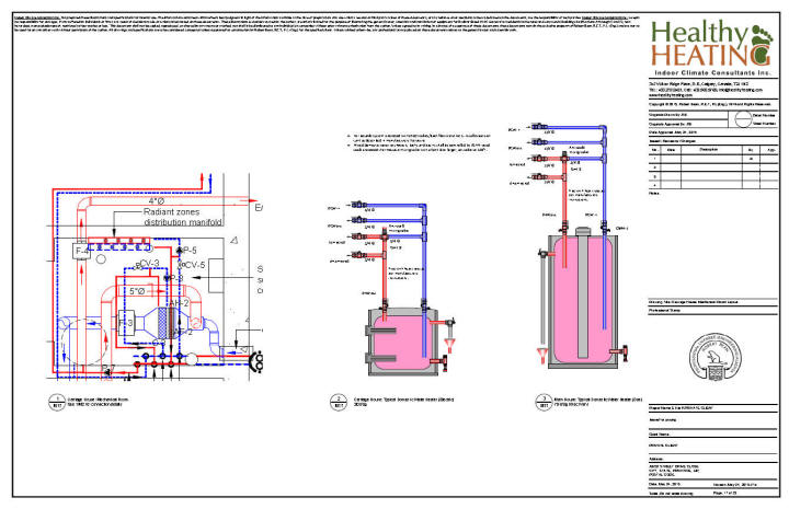 sample set 4 design, drawings and specifications for residential Vector Mechanical Plans guest house mechanical room and domestic water heaters for main house and guest house