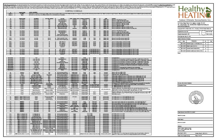 Sample set #4 design, drawings and specifications for residential HVAC  systems | Hvac Drawing List |  | Healthy Heating